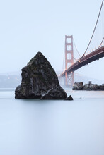 High Key Image Of The Golden Gate Bridge In The Mist.
