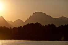 Sunset At Oxbow Bend On The Snake River In Grand Teton National Park