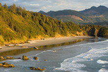 Sunset At Cannon Beach In The Ecola State Park Of Oregon In The Spring