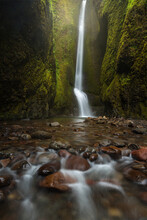 A Beautiful Waterfall At The End Of A Unique Rainforest Slot Canyon, Accessible Only During Low Water Levels In Late Summer. Columbia Gorge, Oregon.