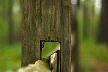 Close Up Of A Wooden Fence Post