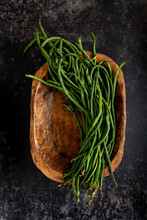 Asian Green Beans In Wood Bowl