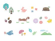 森 小動物 花 植物 かわいいイラストセット