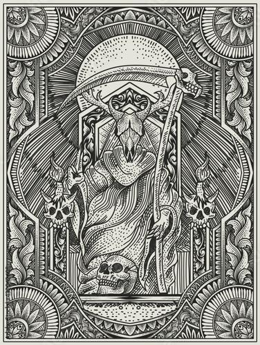 Wallpaper Mural illustration vector king satan on gothic engraving ornament style