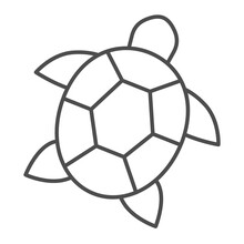 Sea Turtle Thin Line Icon, Worldwildlife Concept, Sea Turtle Vector Sign On White Background, Turtle Outline Style For Mobile Concept And Web Design. Vector Graphics.