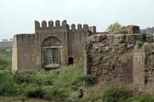 Closeup Shot Of The Gate In Fort Wall Of Historical City Bijapur, Karnataka, India