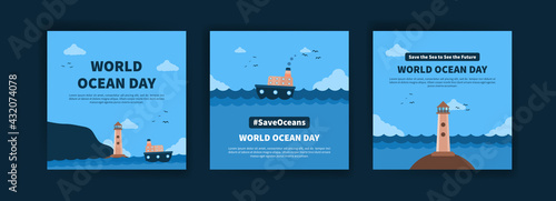 World Ocean Day. Education on the importance of protecting the oceans. Banner vector for social media ads, web ads, business messages, discount flyers and big sale banners. - fototapety na wymiar