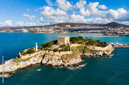 Fotografie, Obraz Pigeon Island with . Kusadasi harbor. Aegean coast of Turkey.