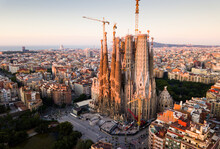 Panoramic View From Drone Of Cathedral Of La Sagrada Familia In Barcelona At Morning, Spain