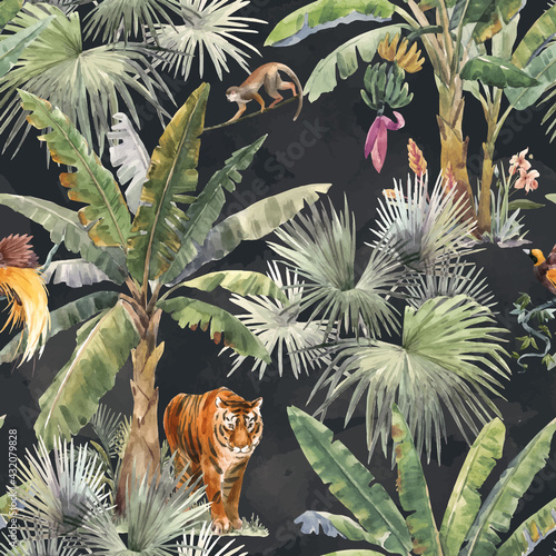 Fotografia Beautiful vector seamless pattern with watercolor tropical palms and jungle animal tiger