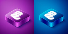 Isometric Gypsum Cast Medical Health Broken Leg Icon Isolated On Blue And Purple Background. Square Button. Vector