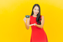 Portrait Beautiful Young Asian Woman Smile With Credit Card