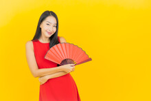 Portrait Beautiful Young Asian Woman With Chinese Fan