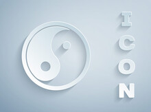 Paper Cut Yin Yang Symbol Of Harmony And Balance Icon Isolated On Grey Background. Paper Art Style. Vector