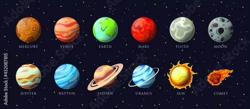 Fotografie, Obraz Cartoon solar system planets