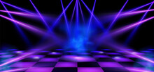 Dance Floor, Stage Illuminated By Blue And Pink Spotlights. Empty Scene With Spots Of Light On Checkered Floor. Vector Realistic Illustration Of Theater Or Club With Color Beams Of Lamps And Smoke