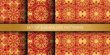 Set Of Chinese Seamless Pattern With Ornament With Red And Gold Color. Good For Clothing And Textiles. Vector Illustration.