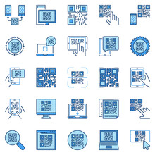 QR Code Vector Concept Colored Modern Icons