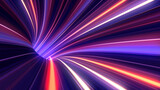 Fototapeta Do przedpokoju - Streak light inside wormhole and blackhole, visualize of warp drive thru galaxy time travel in space of universe