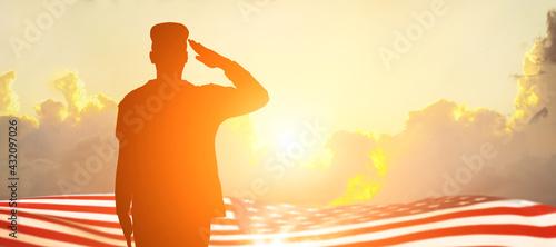 Fotografie, Tablou Soldier and USA flag on sunrise background