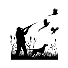 Hunting For Pheasants With A Dog. A Man Shoots A Shotgun At Flying Birds While Standing In The Grass With Reeds. Vector Silhouette.
