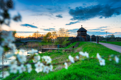 Canvas Print Beautiful sunset over the settlement of Trade Factory in Pruszcz Gdanski, Poland