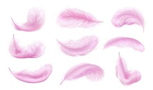 Falling Pink Fluffy Twirled Feather Set, Isolated Goose Feathers Realistic Style, Vector 3d Illustration.