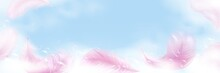 Soap Foam With Bubbles And Pink Feathers Banner. Cleanliness Concept, Wash, Cleaning Vector 3d Illustration.