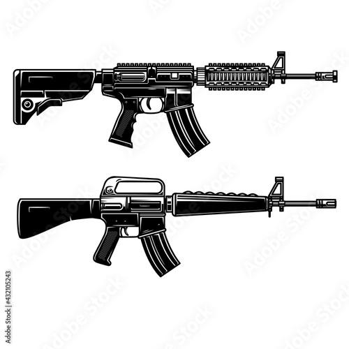 Obraz na plátně Set of Illustration of american automatic assault rifle