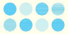 Round Sea, Water Backgrounds Set, Collection. Doodle Hand Drawn Waves, Wavy Stripes, Curved Streaks, Uneven Bars, Lines Patterns. Circle Shape Border, Frame Templates. Marine, Summer Design Elements.