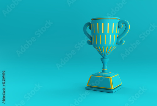 3D Render Trophy Cup isolated on Color Background. - fototapety na wymiar