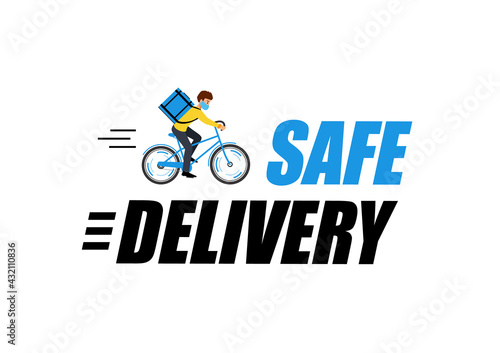 Set label with says Safe delivery. Blue banners with courier boy on bike.