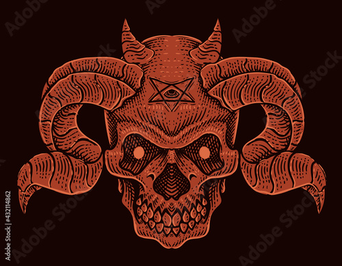Photographie illustration vector demon skull head