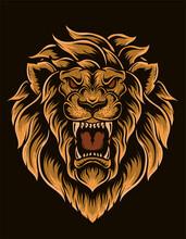 Illustration Vector Isolated Lion Head