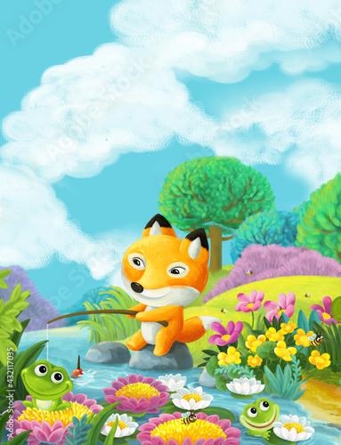 Fototapeta premium cartoon scene forest animals friends fishing illustration