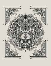 Illustration Lion Vintage Mandala Ornament