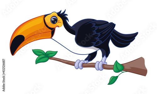 Fototapeta premium Cartoon toucan on branch vector illustration, tropical bird