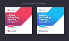 Corporate Social Media Post Design. Digital And Online Marketing Social Media Banner Design Template.