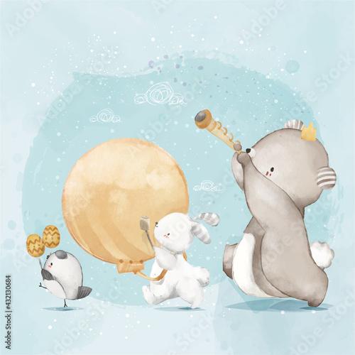 animal-painting-cute-wildlife-watercolor-parade-music-celebration-fun-day