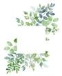 Leinwandbild Motiv Leaves frame border. Watercolor hand painting floral geometric background. Leaf, plant, branch isolated on white.