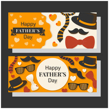 Happy Fathers Day Vector Background. Flat Fathers Day Banners Set Design, Graphic And Business