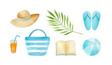 Watercolor Tropic Beach Rest Items Collection: Hat, Cocktail, Turquoise Blue Striped Bag, Flip Flops, Paper Book, Bouncy Ball, Green Palm Leaf. Hand-drawn Elements Isolated On A White Background