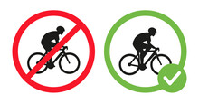 Cycling Prohibited And Riding Bikes Allowed Vector Flat Illustration Isolated On White Background. Cyclist Riding On Bike Icon In Crossed Out Red Circle, In Green Circle. Cycling Permit And Forbidden.