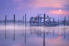 Boats Moored  By A Pier At Sunrise, Veneto, Italy