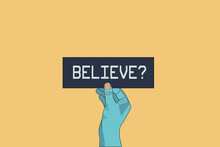 Do You Believe In Aliens? Extraterrestrial Concept. Space-travels On Other Planets Like Mars. Hand Holding A Black Card With A Text Saying Believe. Life On Other Planets