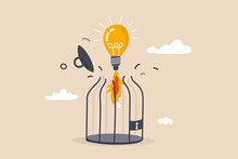 Unleash Creativity Or Unlock Business Idea To Grow Beyond Limitation Concept, Lightbulb Creative Idea Breaking Birdcage With Launching  Rocket Booster.