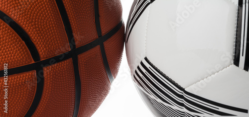 Canvas-taulu Photo balls close-up basketball and soccer balls on a white background