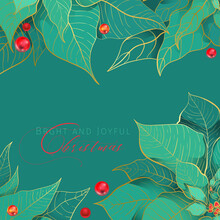 Bright And Joyful Christmas Square Green Banner