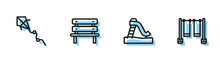 Set Line Kid Slide, Kite, Bench And Double Swing Icon. Vector