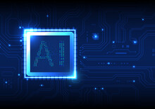 Blue Circuit Board Background Modern AI System